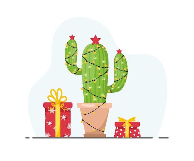 Simpatico cactus con ghirlande di capodanno. feliz navidad. buon natale.
