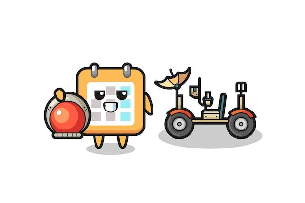 Il simpatico calendario come astronauta con un rover lunare, design in stile carino per maglietta, adesivo, elemento logo