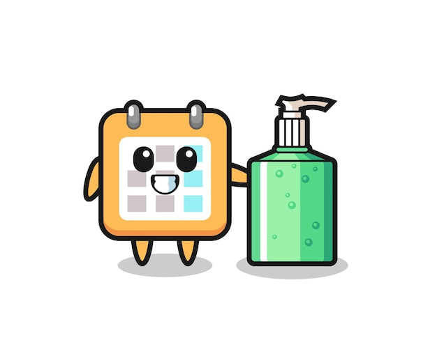 Simpatico cartone animato calendario con disinfettante per le mani, design in stile carino per t-shirt, adesivo, elemento logo