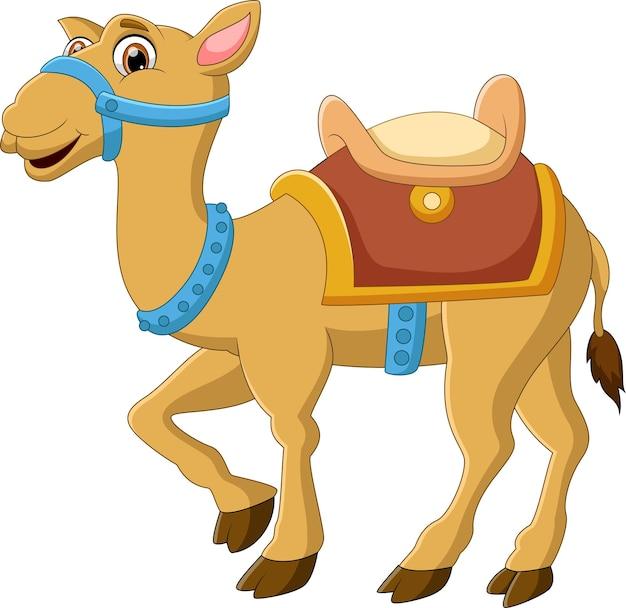 Simpatico cartone animato cammello in posa sorridente isolato su sfondo bianco