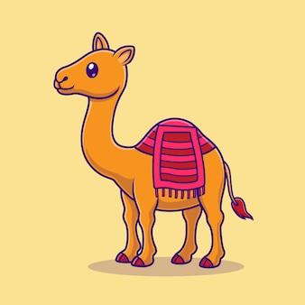 Illustrazione sveglia dell'icona di vettore del fumetto del cammello. concetto di icona natura animale isolato vettore premium. stile cartone animato piatto
