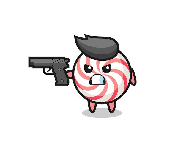 Il simpatico personaggio delle caramelle spara con una pistola, un design in stile carino per maglietta, adesivo, elemento logo