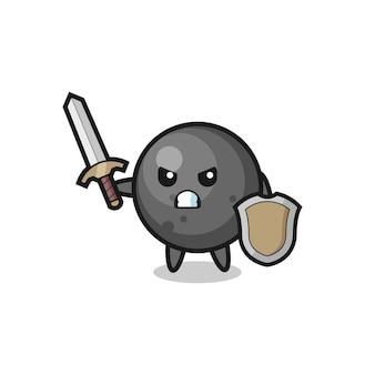 Simpatico soldato con palla di cannone che combatte con spada e scudo, design in stile carino per maglietta, adesivo, elemento logo