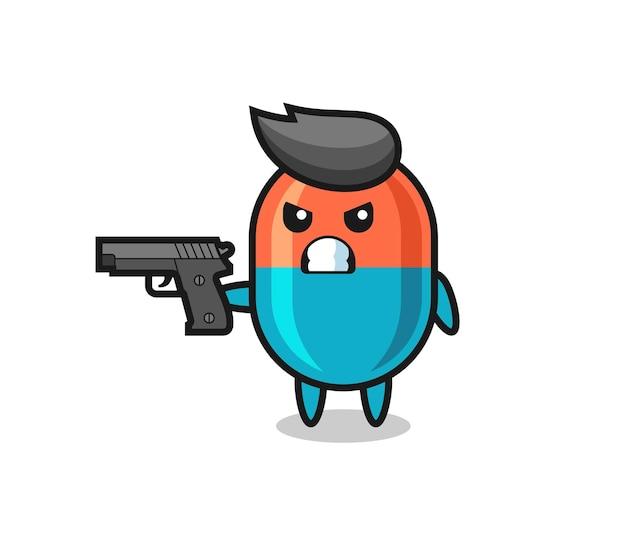 Il simpatico personaggio della capsula spara con una pistola, un design in stile carino per maglietta, adesivo, elemento logo