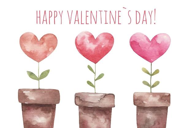 Scheda sveglia per san valentino, piante a forma di cuore, illustrazione su sfondo bianco