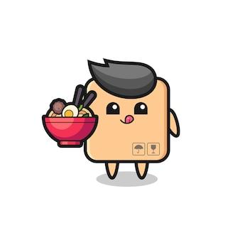 Simpatico personaggio di scatola di cartone che mangia noodles, design in stile carino per t-shirt, adesivo, elemento logo