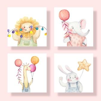 Simpatiche carte con animali, giraffe, lepri, leoni, elefanti tengono palloncini nelle loro mani, carina illustrazione dell'acquerello