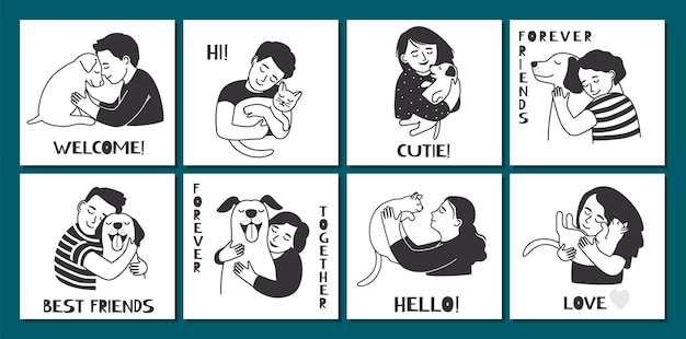 Carte carine con persone che abbracciano. il proprietario di animali domestici tiene cani da gatto. banner vettoriali di animali divertenti