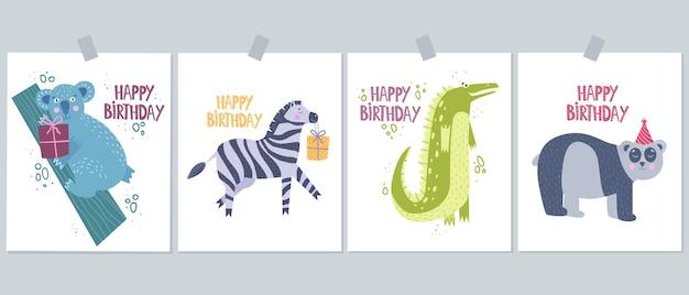 Simpatiche carte con animali selvatici come koala, zebre, coccodrilli, panda.