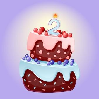 Torta festiva di buon compleanno di buon anno del fumetto 2 con la candela numero due. biscotto al cioccolato con frutti di bosco, ciliegie e mirtilli