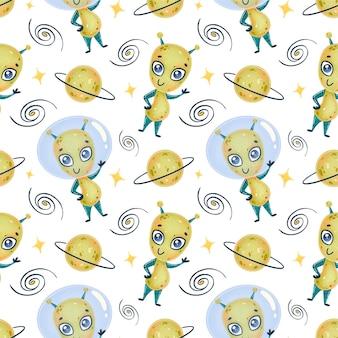 Modello senza cuciture di alieni simpatico cartone animato. modello ufo. modello senza cuciture di mostri svegli.