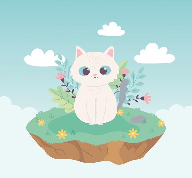 Simpatico cartone animato animale adorabile mascotte piccolo gatto con fiori
