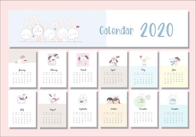 Calendario animale simpatico cartone animato impostato 2020