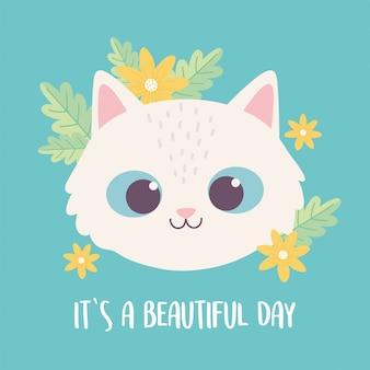 Gatto felino domestico adorabile del fronte animale sveglio del fumetto con i fiori
