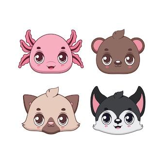 Collezione di icone animali simpatico cartone animato