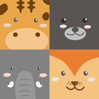 Gli animali svegli del fumetto affrontano la carta da parati di stile di progettazione del quadrato della raccolta