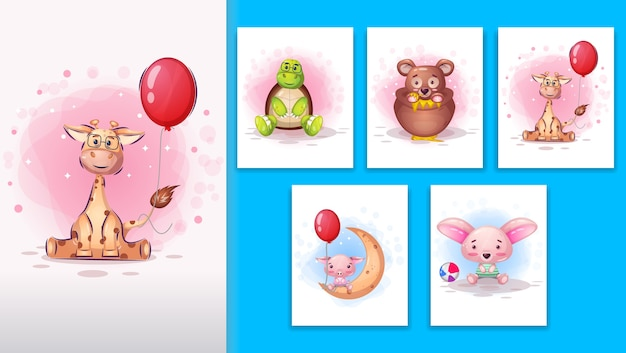Illustrazione di animali simpatico cartone animato.
