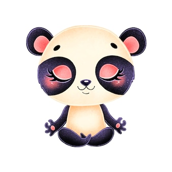 Animali svegli del fumetto meditano. meditazione del panda.