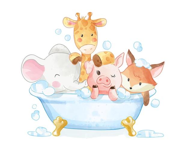 Animali svegli del fumetto che fanno la doccia nell'illustrazione della vasca da bagno