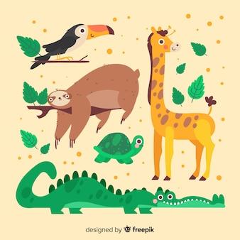 Animali simpatico cartone animato con raccolta di foglie Vettore Premium