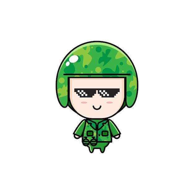 Simpatico cartone animato chibi dell'esercito