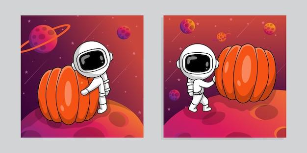 Astronauta simpatico cartone animato con zucca sullo sfondo dello spazio