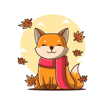 Simpatico cartone animato autunno volpe con illustrazioni vettoriali sciarpa. concetto dell'icona del giorno d'autunno
