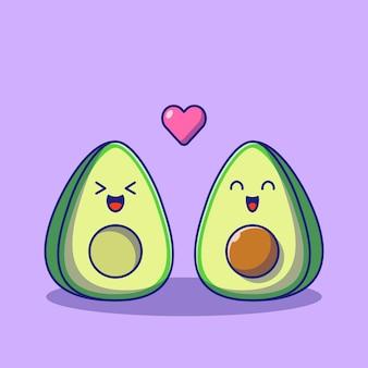 Coppie sveglie dell'avocado del fumetto nell'illustrazione piana di amore isolata