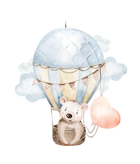 Simpatico cartone animato orsetto animale disegnato a mano illustrazione ad acquerello con mongolfiera