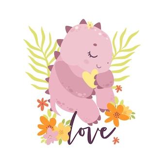 Dinosauro del bambino sveglio del fumetto in fiori personaggio dei cartoni animati del neonato