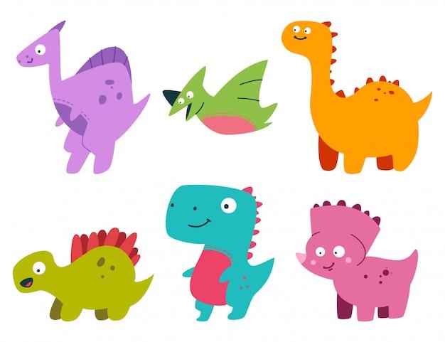 Insieme sveglio del dinosauro del bambino del fumetto animali preistorici semplici piatti di vettore isolati