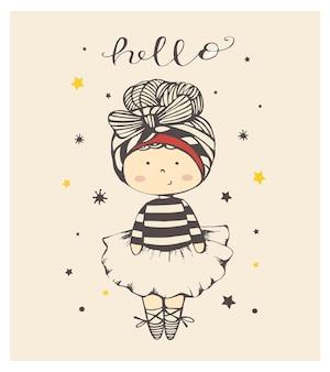 Simpatico cartone animato bambina ballerina illustrazione vettoriale disegnato a mano può essere utilizzato per la maglietta del bambino