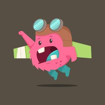 Carattere del mostro del bambino sveglio del fumetto. illustrazione piatta di una creatura divertente in un costume da pilota con ali giocattolo.