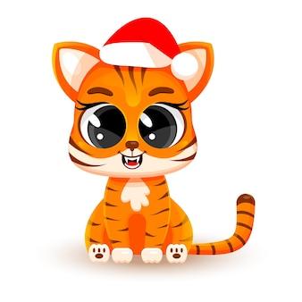 Tigrotto simpatico cartone animato che indossa un cappello di babbo natale. illustrazione vettoriale isolato su sfondo bianco. concept #natale, #capodanno cinese, simbolo del 2022. adesivo moda. biglietto natalizio.
