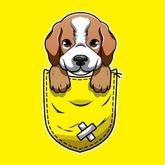 Simpatico cartone animato un beagle in una tasca Vettore Premium