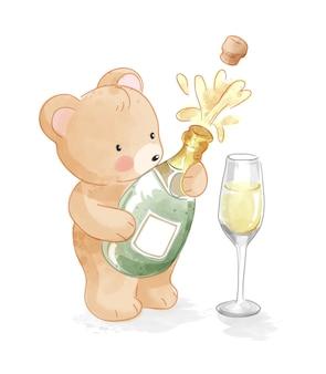 Orso sveglio del fumetto che tiene l'illustrazione della bottiglia di champagne