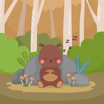 Orso simpatico cartone animato che dorme nella foresta