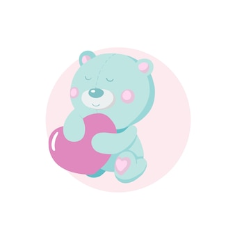 Orso simpatico cartone animato con cuore