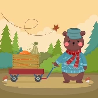Simpatico orsetto cartone animato con carretto di zucca