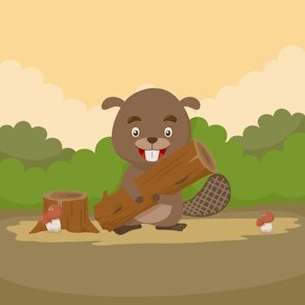 Simpatico personaggio dei cartoni animati castoro nella foresta
