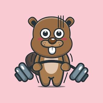Simpatico cartone animato castoro sollevamento bilanciere