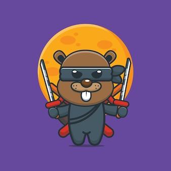Simpatico cartone animato castoro ninja illustrazione vettoriale