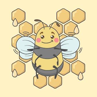 Vista frontale del personaggio di ape simpatico cartone animato con favo di miele
