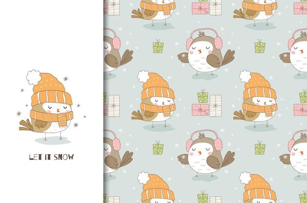 Uccello sveglio del fumetto in sciarpa e cappello lavorato a maglia.