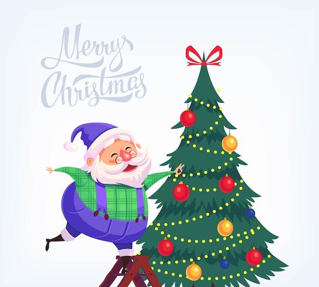 Vestito blu del fumetto sveglio santa claus che decora l'illustrazione di buon natale dell'albero di natale