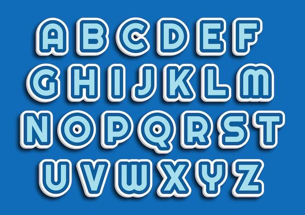 Set di alfabeti a tema blu sveglio del fumetto