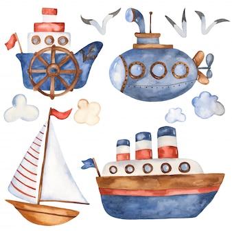 Collezione di barche simpatico cartone animato Vettore Premium