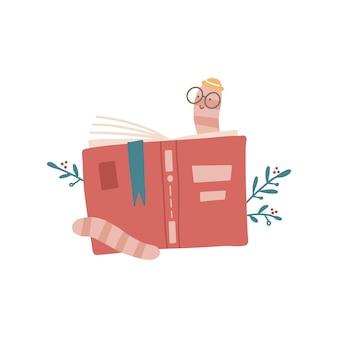 Topo di biblioteca simpatico cartone animato con occhiali e cappello che legge dietro un'illustrazione vettoriale disegnata a mano piatta del libro