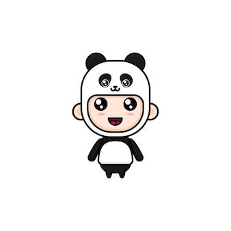 Ragazzo simpatico cartone animato che indossa il costume da panda