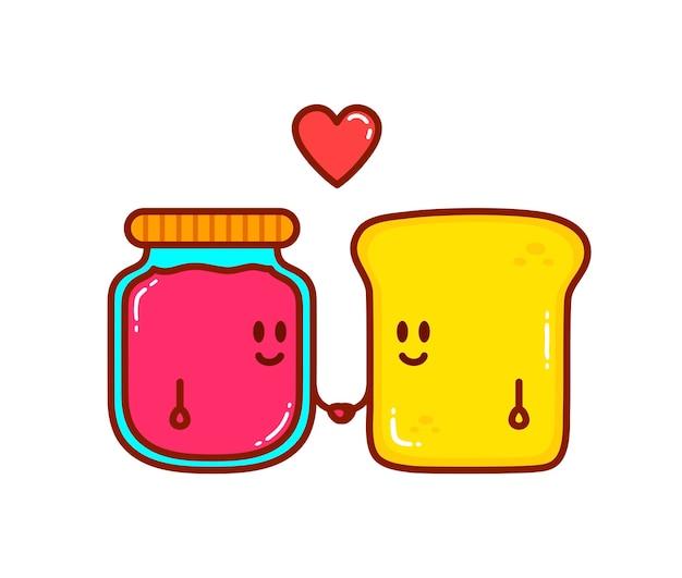 Simpatici personaggi dei cartoni animati di pane e marmellata
